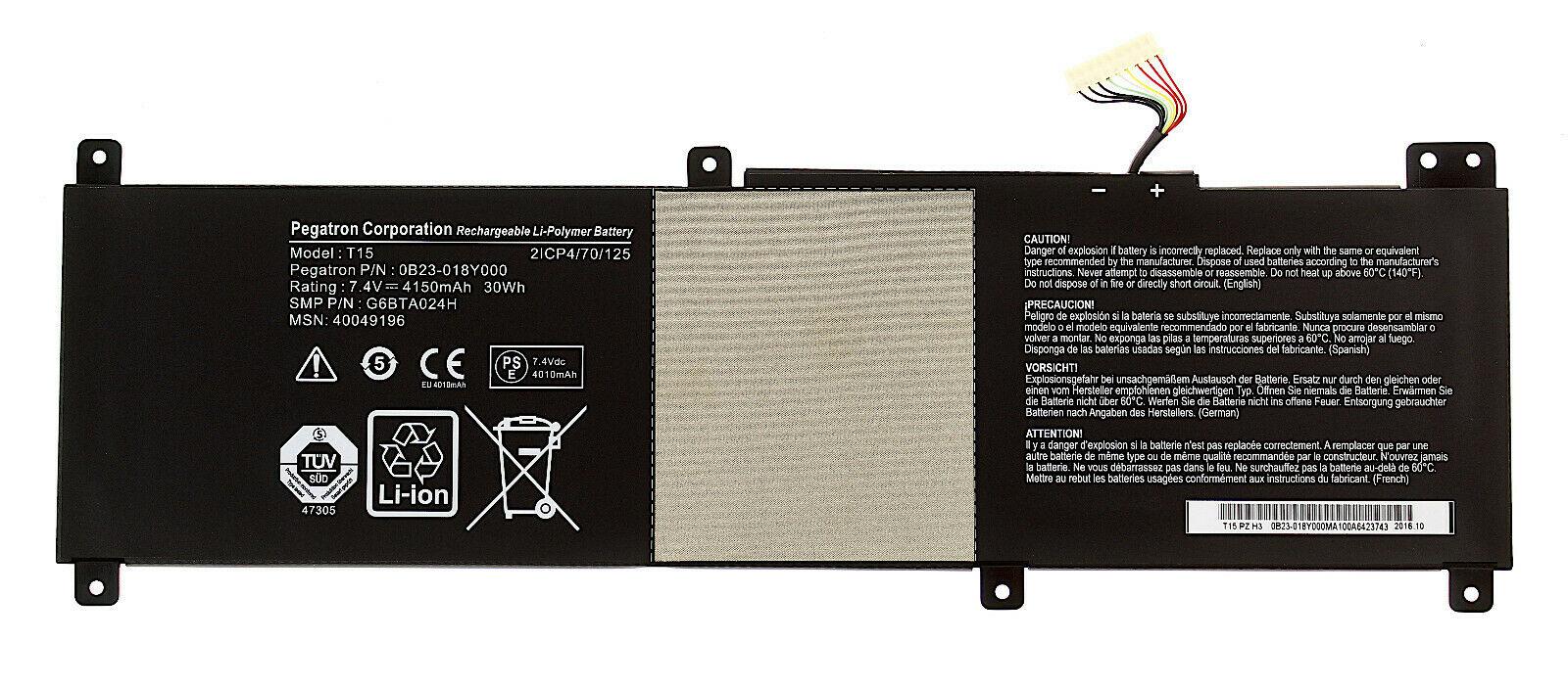 Akku für 7.4V 4150mAh Medion S6213T S6214T S6413T T15 0B23-018Y000 (Ersatz)
