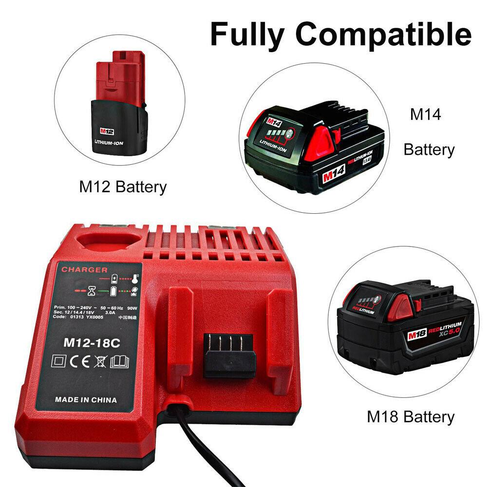 Chargeur Milwaukee M18 14.4-18V Li-ion 48-11-1840 48-59-1812 (Ersatz)